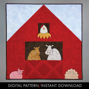 digital downloand of easy applique farm animals with barn baby quilt pattern