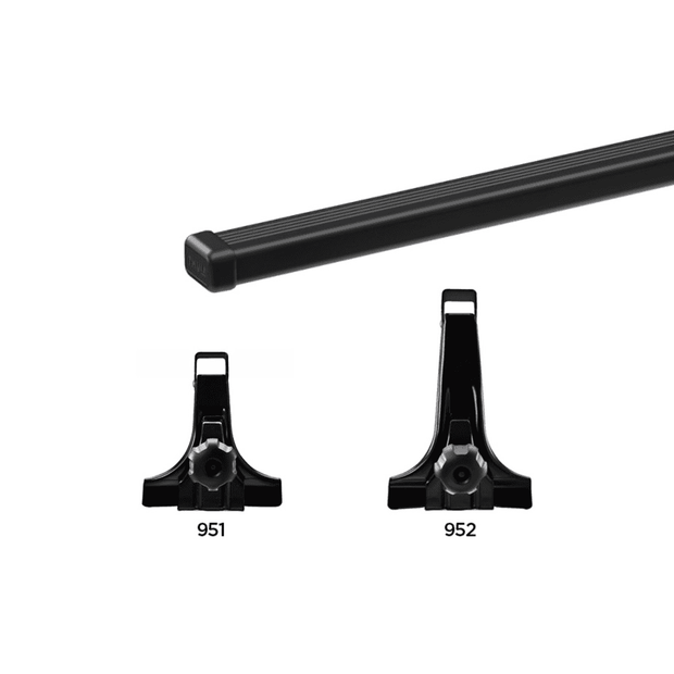 THULE Roof Rack For AUDI Quattro 4-Door Saloon 1981-1991 with Rain Gutters (SQUAREBAR)