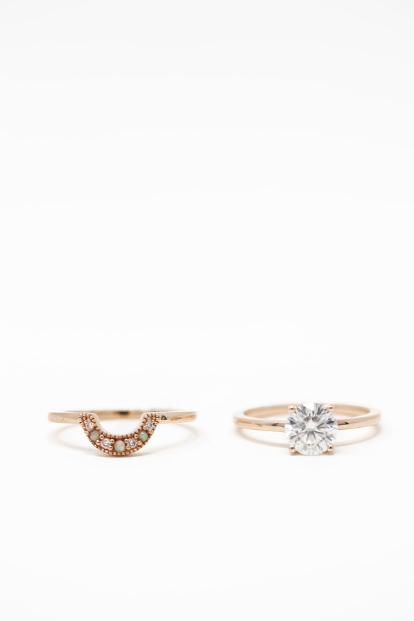 CRESCENT MOISSANITE AND OPAL RING SET