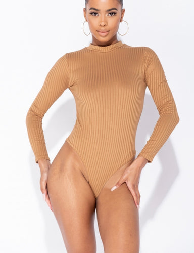 Ribbed turtle neck body suit