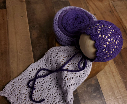Ombre Eggplant to Lavender lace wrap and bonnet newborn