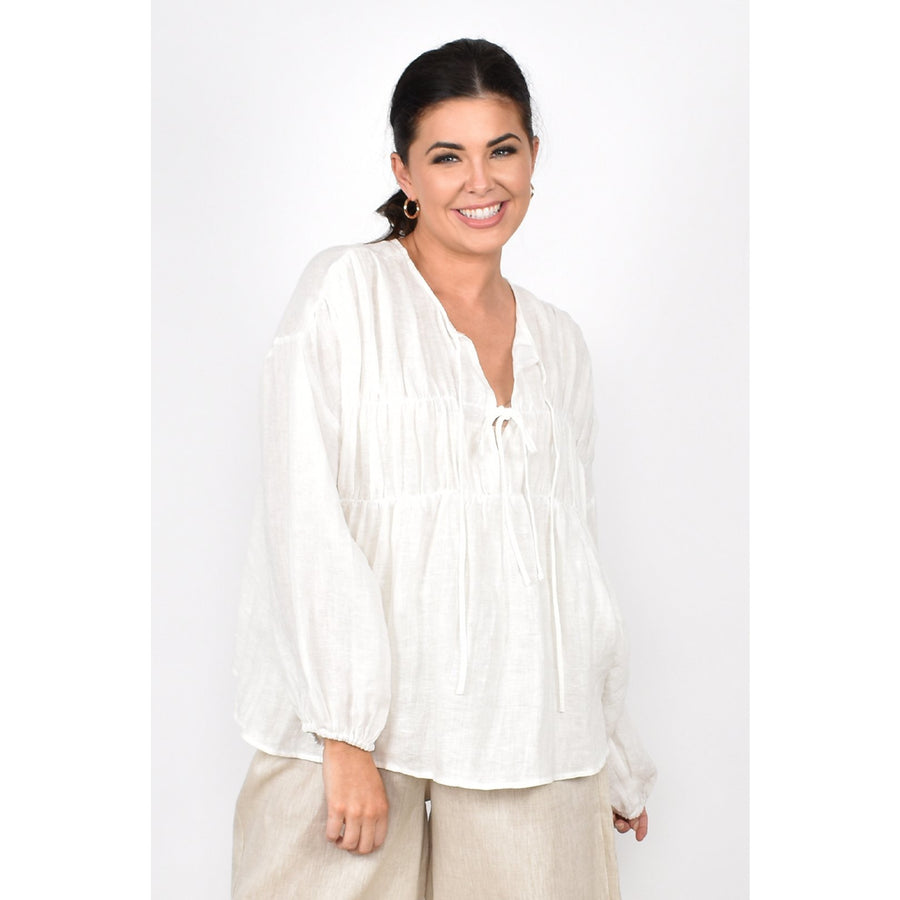 Evie Tiered Long Sleeve Linen Top