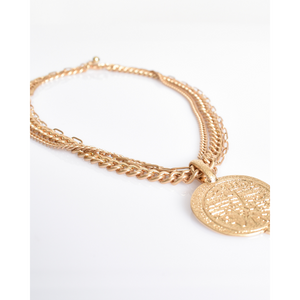 MULTI CHAIN ANCIENT MEDAL COIN NECKLACE