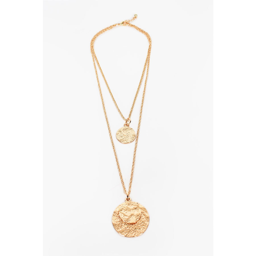 Double Layer Disc Long Necklace