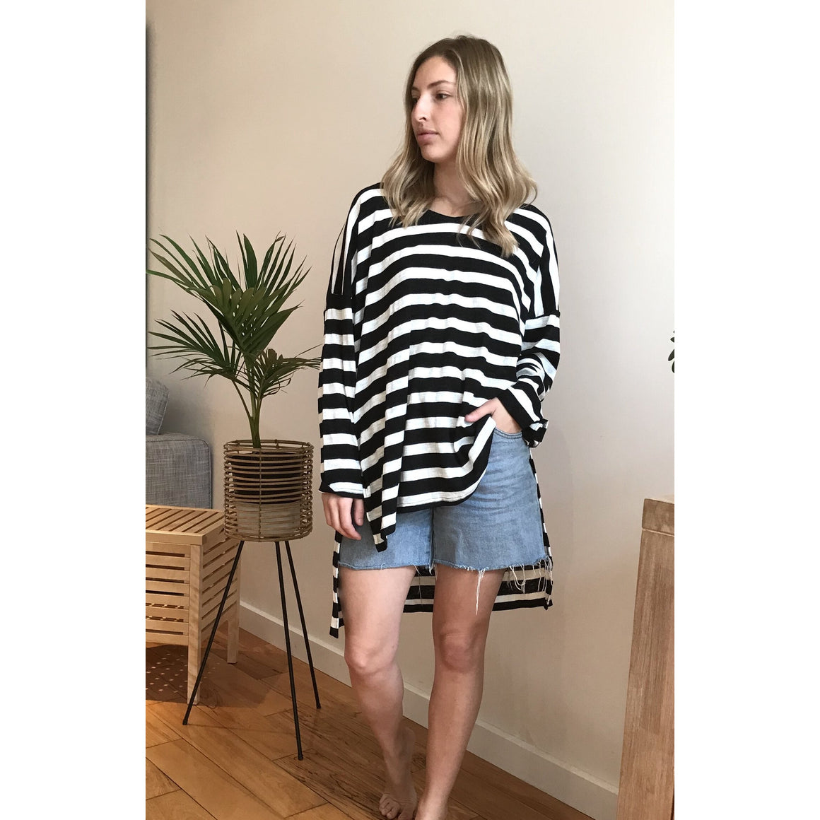 FIVE FIVE SIX STRIPE SLOUCH TOP