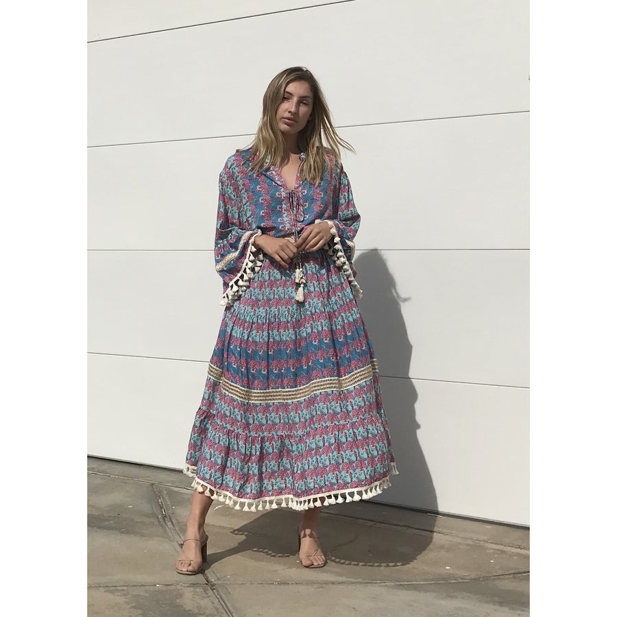 FIVE SIX SIX BOHO BLUE MAXI DRESS
