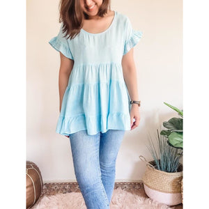 BABYDOLL TIERED LINEN SMOCK TOP