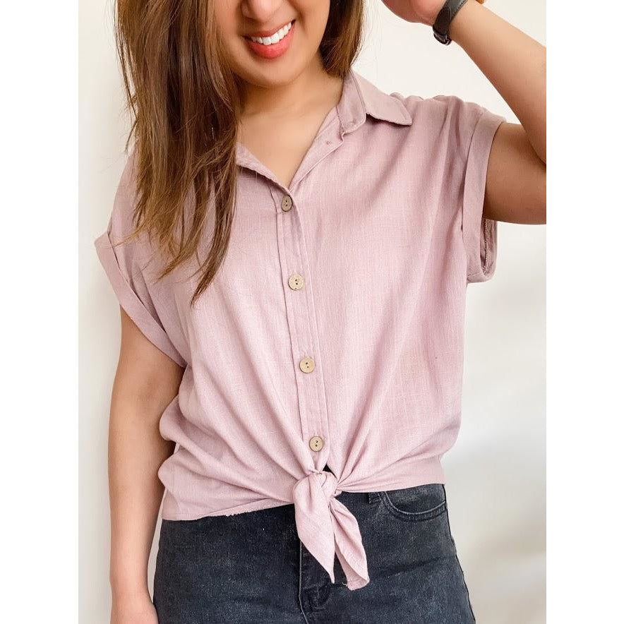 AMBER LINEN LOVE TIE UP SHIRT