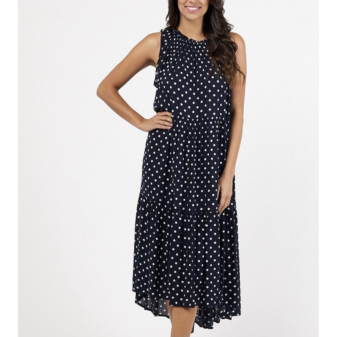 SPLICE NAVY SPOT DRESS (4849228054582)
