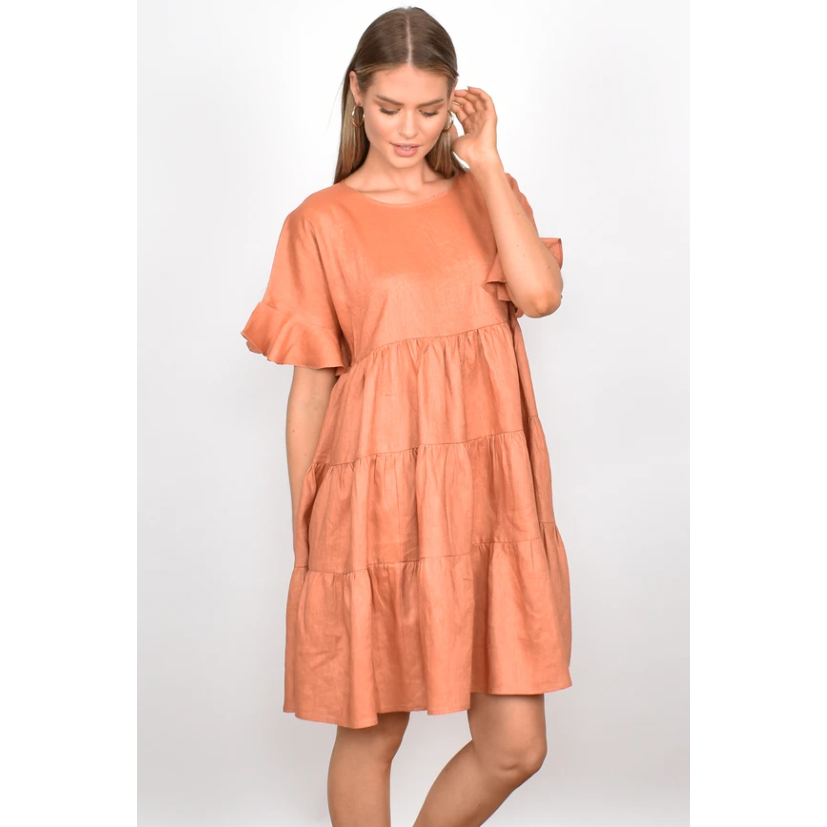 Piper Linen Frill Dress (4865570603062)