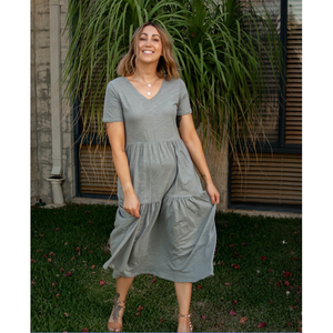 ELORA TIERED JERSEY MIDI DRESS