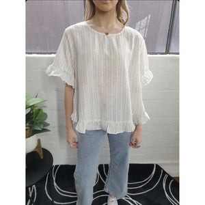 LINEN LOVE PINSTRIPE FRILL TOP