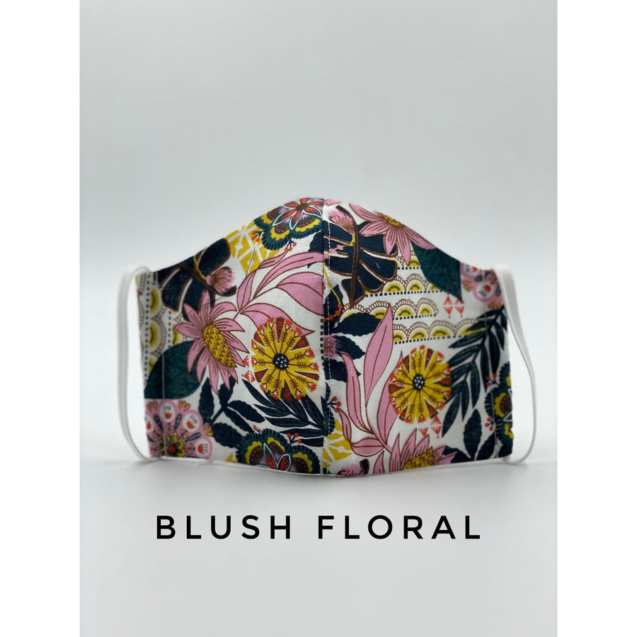 Cotton Fabric Face Mask - Blush Floral (4675304390710)