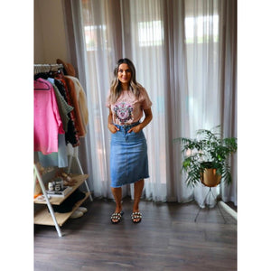 BEAU FRAYED DENIM MIDI SKIRT (4722027135030)