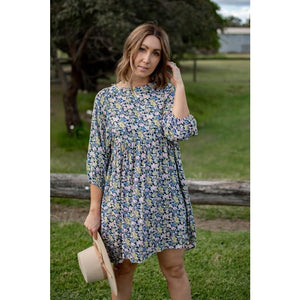 KINSLEY WATERCOLOUR FLORAL TUNIC DRESS