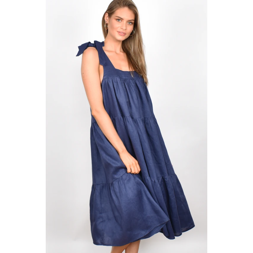POPPY FRILL LINEN MIDI DRESS (4873818767414)