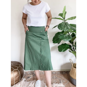 Military linen stretch skirt (4733383671862)