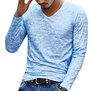 2c2dae58148d 2018 Brand Autumn V neck T Shirt Men Casual Fitness Tops Tees Vintage Blue Long  Sleeve Pullover