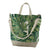 Market tote-Green monstera with vegan leather