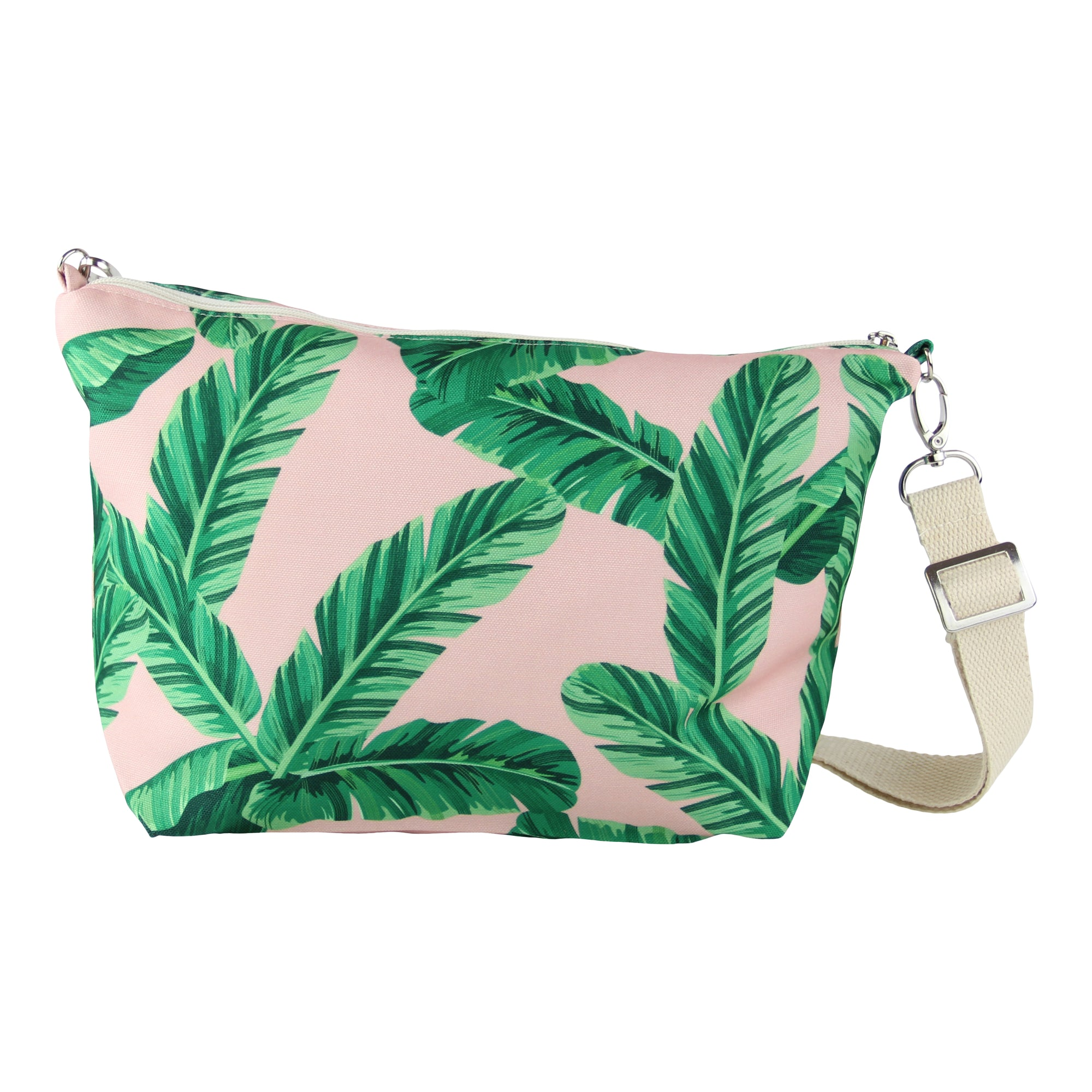 Messenger Pouch-Tropical leaves in Blush