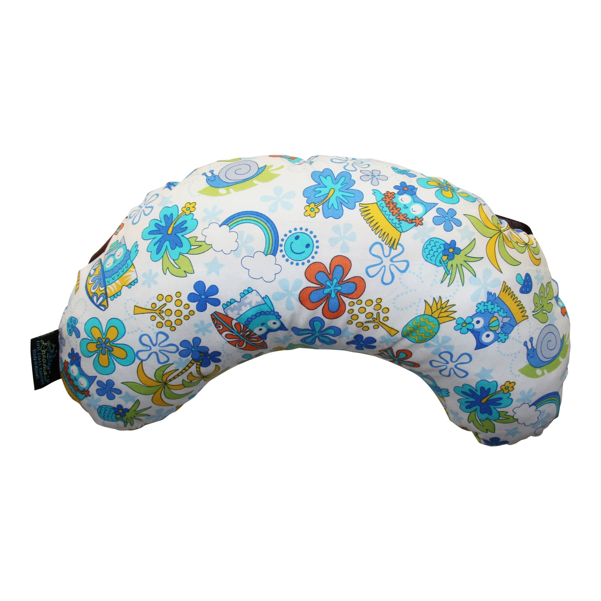 Neck/Back Pillow-Owls in Paradise Blue