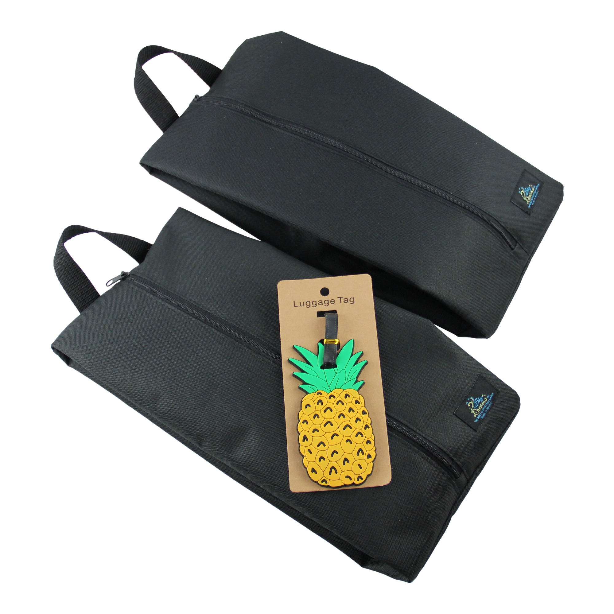 SkyPak Cube Set with Pineapple Luggage Tag-Black