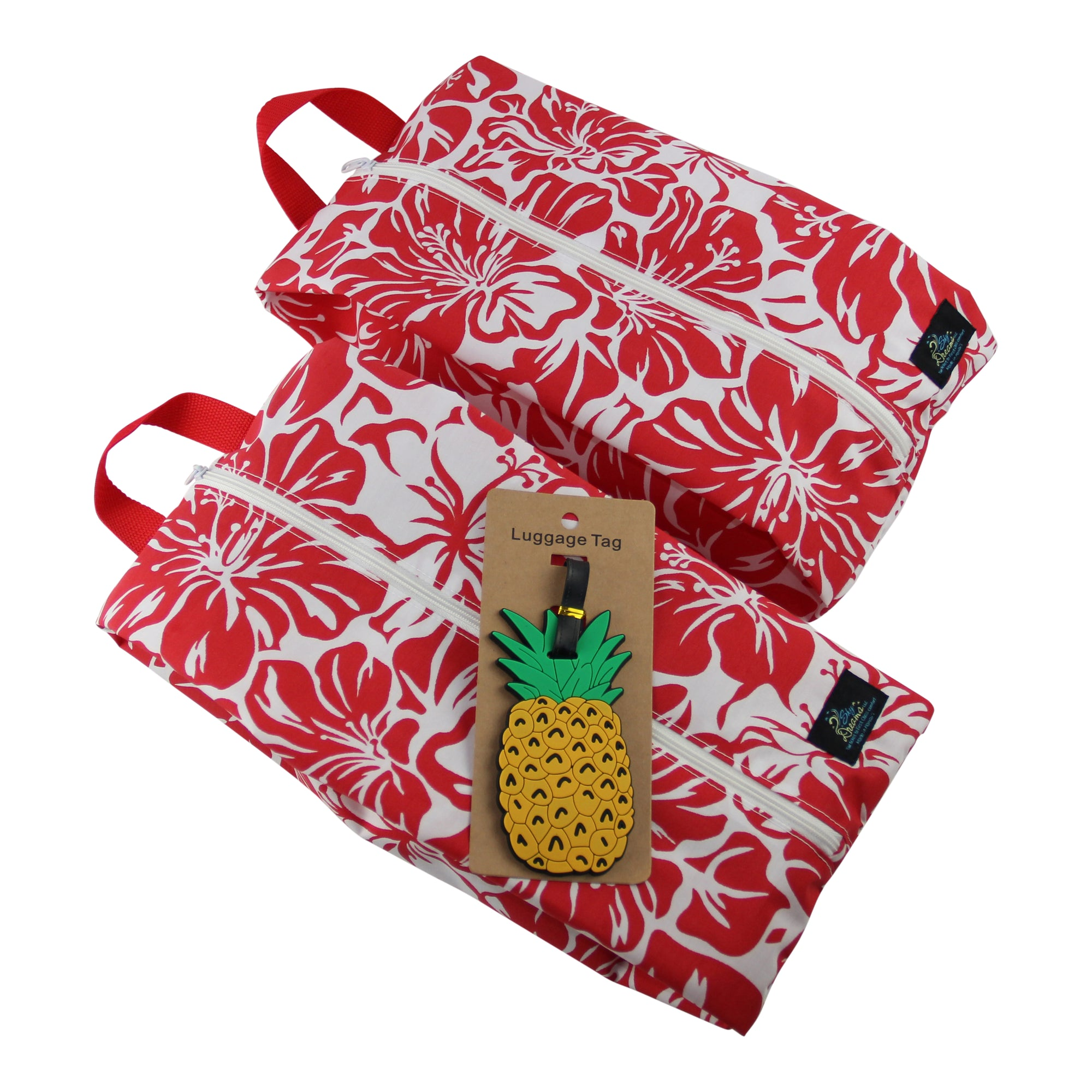 SkyPak Cube Set with Pineapple Luggage Tag-Red Hibiscus