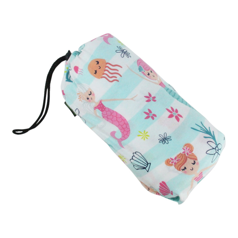 Drawstring travel set with blanket-Mermaid Kisses Cotton Knit