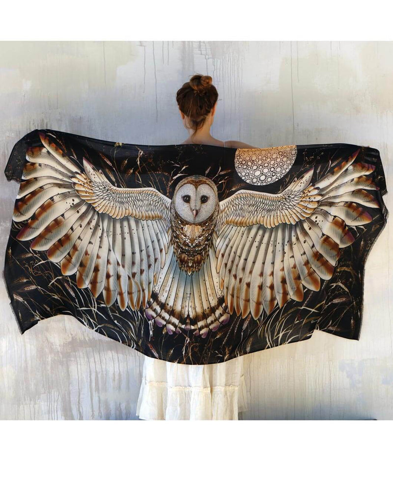Barn Owl Bird Feather Wings Shawl
