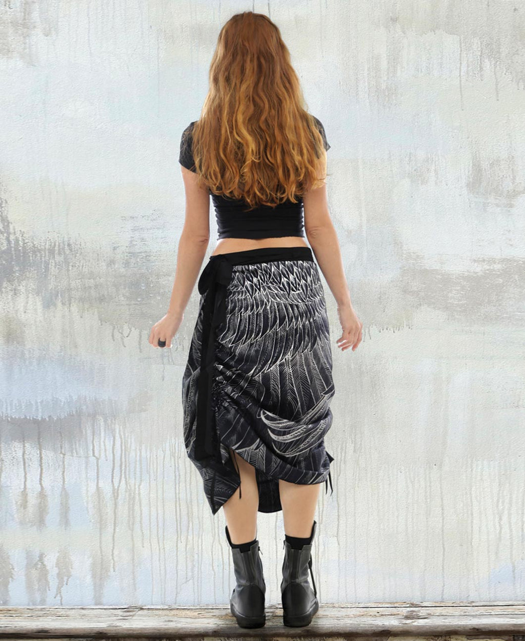Black Feather Wrap Skirt