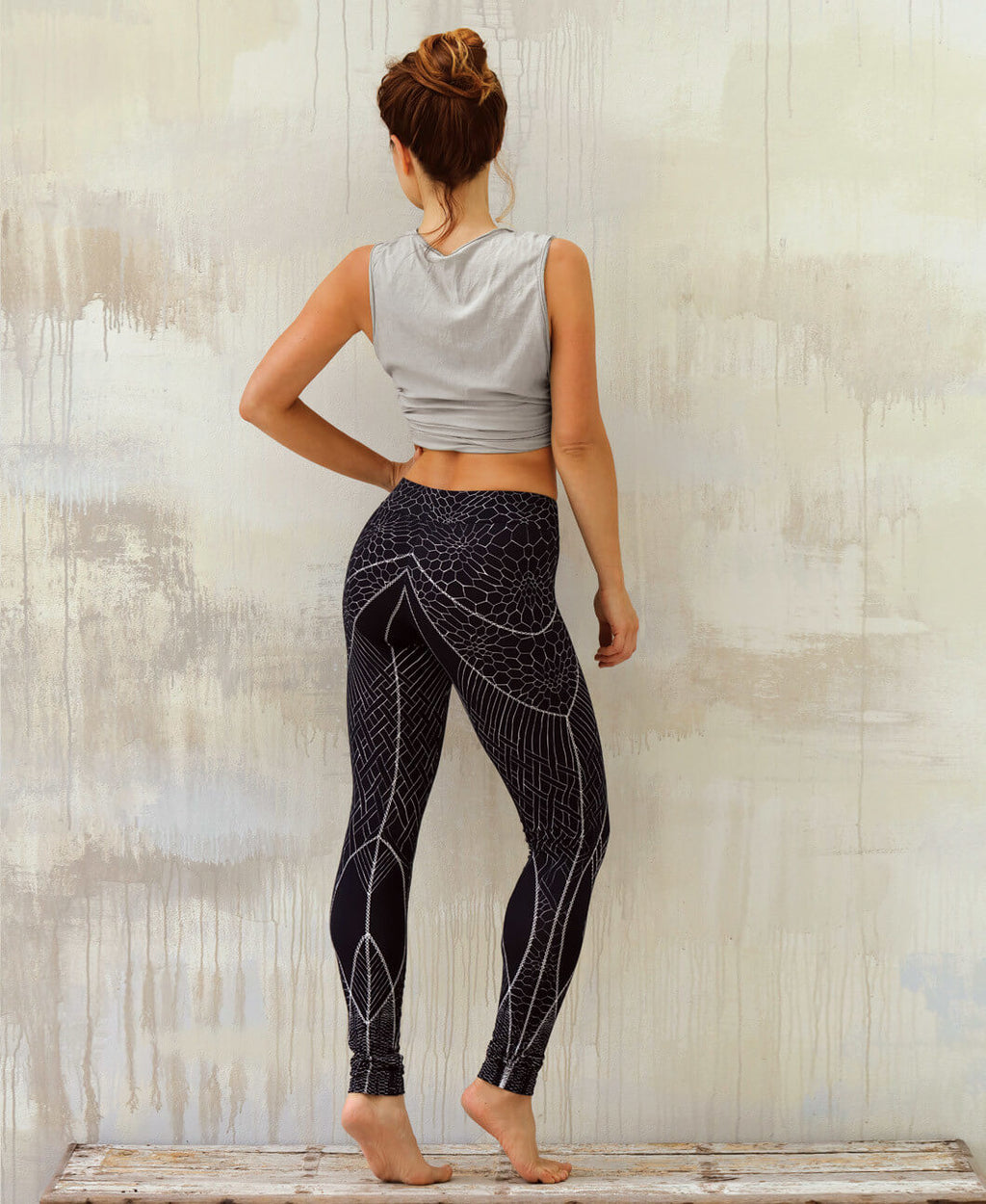 Fractal Black Leggings
