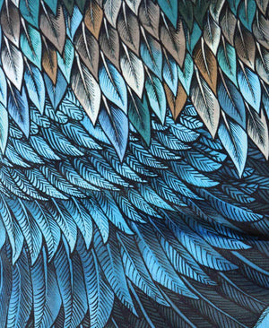 Blue Feather Wrap Skirt