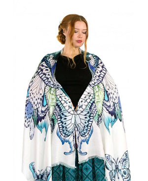 Blue Butterfly tribal scarf