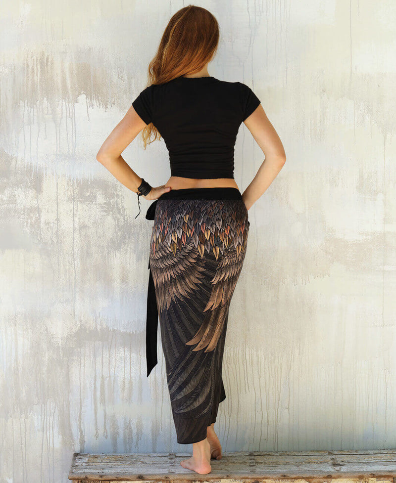 Brown Feather Wrap Skirt