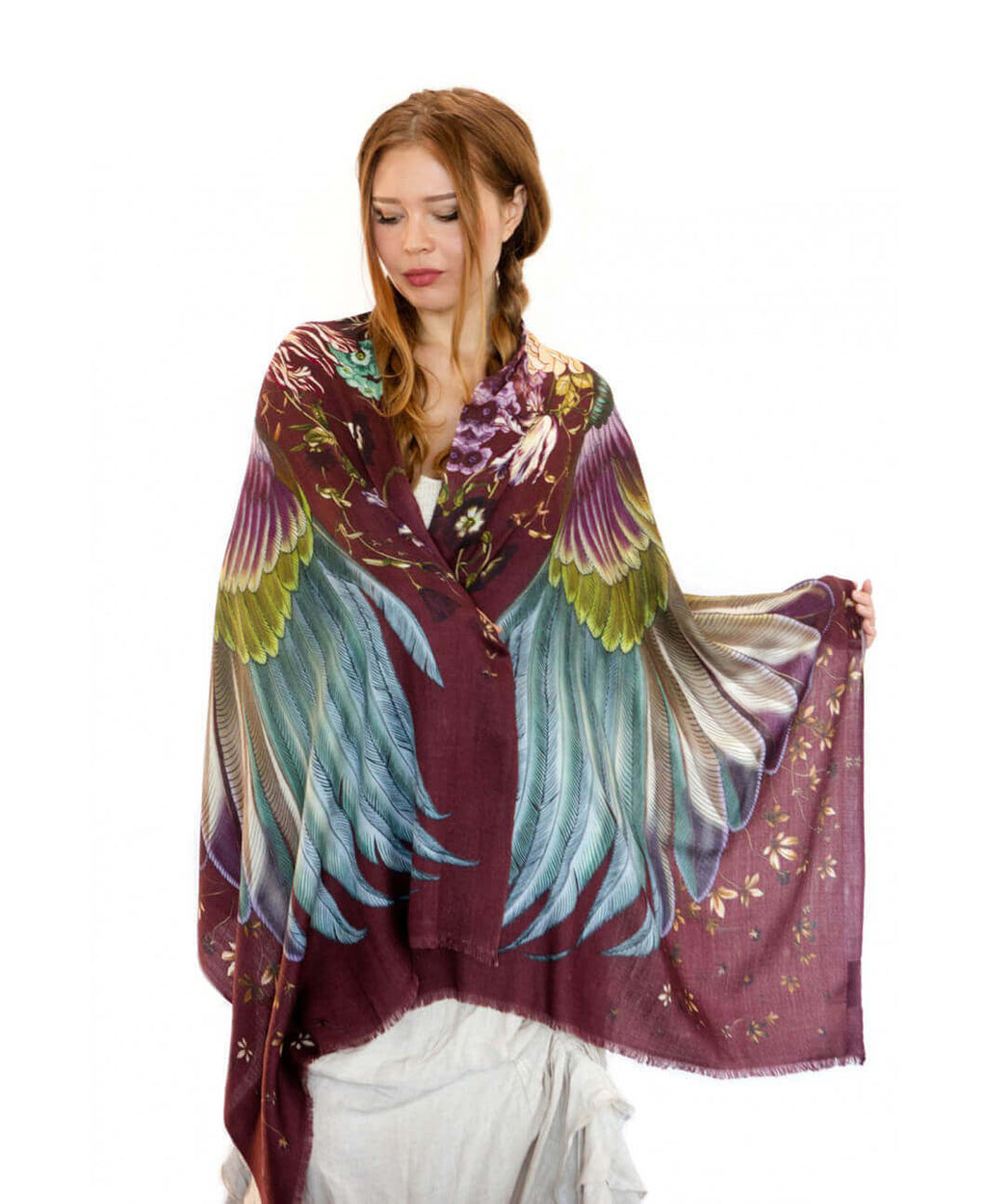 Crimson bird feathers shawl