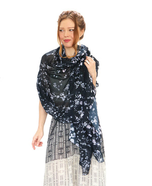 Forget Me Not Black floral scarf
