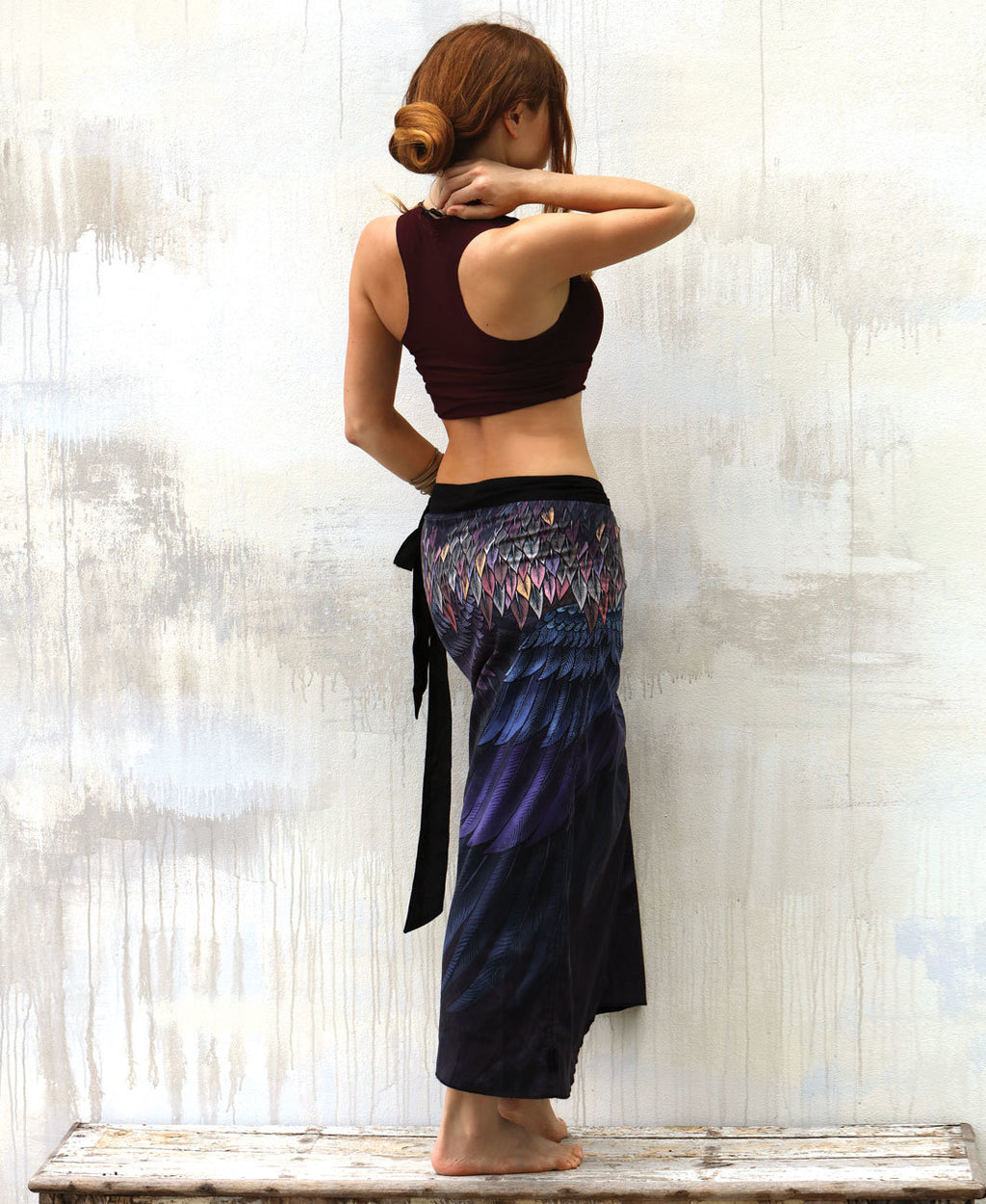 Purple Feather Wrap Skirt