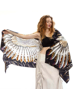 Barn Owl bird feather wings scarf