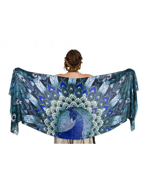 Aqua Peacock art scarf