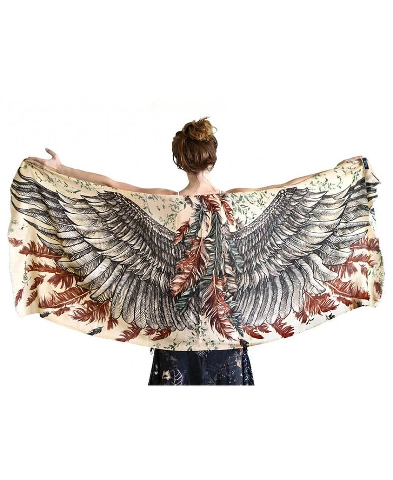 Earthy bohemian bird wings scarf