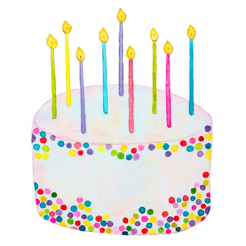 Birthday Cake with Rainbow Confetti