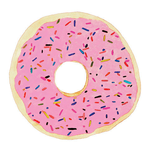 Donut with Pink Frosting & Rainbow Sprinkles