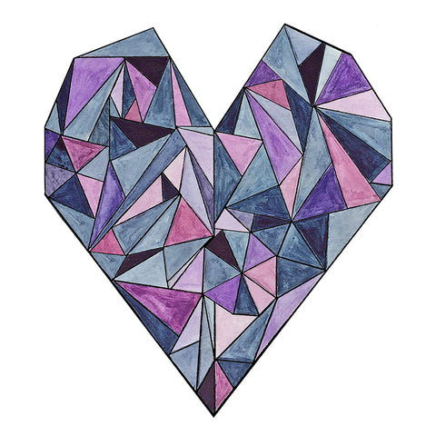 Geometric Heart - Purple, Pink and Indigo Watercolor