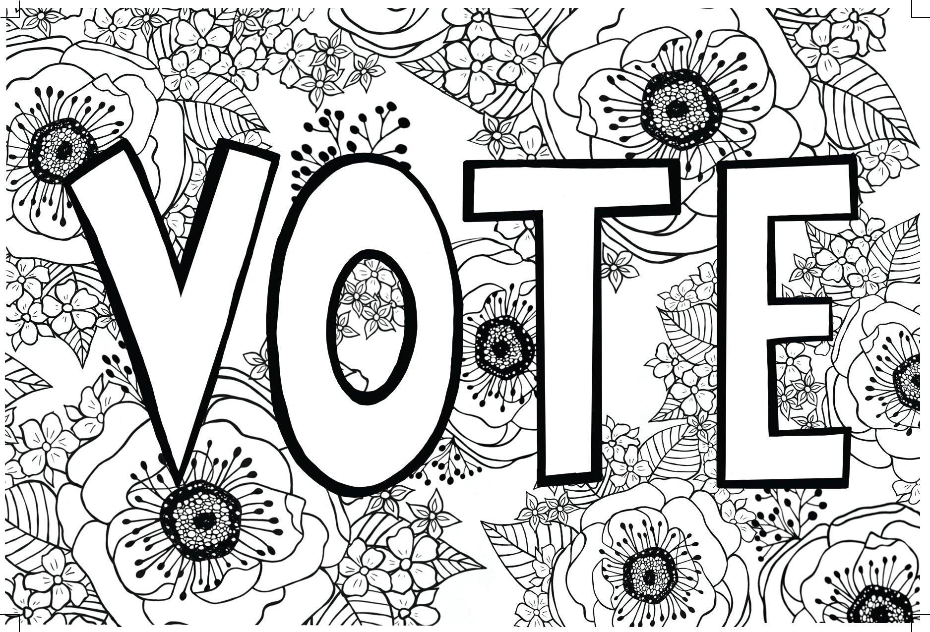 Vote with Flowers Front of Postcard with crop marks