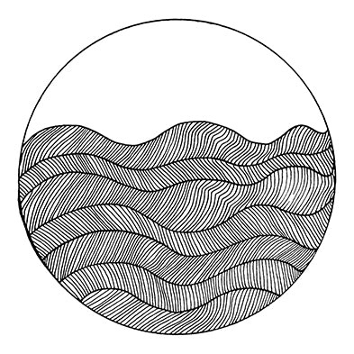 Circle Waves 8x10 Modern Art Print in Black and White, by Tanya Madoff