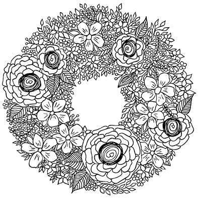 Flower Wreath Art Print, Black and White, by Tanya Madoff
