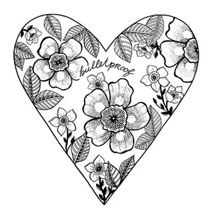 Bulletproof Heart with Flowers Print, 8x10 black and white