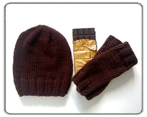 Outer Sunset Hat and Mitts - Chocolate Brown, Knitted by Hand