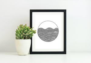 Framed Circle Waves 8x10 Modern Art Print in Black and White, by Tanya Madoff
