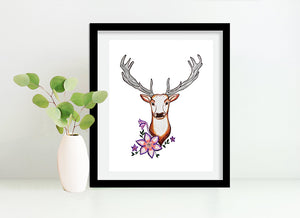 Stag Deer with Flowers 8x10 Art Print by Tanya Madoff